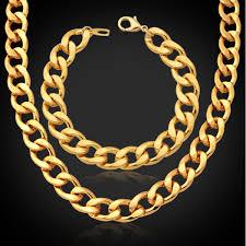 2019 <b>18K Gold</b> Plated Chunky Necklace Bracelet Chains <b>18K</b> ...