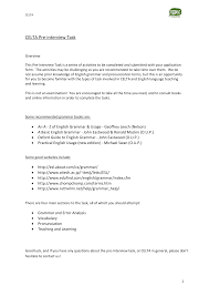 celta pre interview task sheet