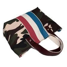<b>D Shape Genuine Leather</b> Handle 12 OZ Natural Canvas Stripe ...