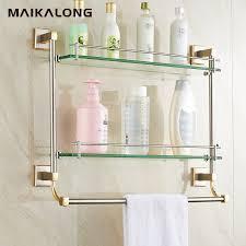 bathroom tempered glass shelf: bathroom glass shelf wall mount with towel bar and railgold brush finish