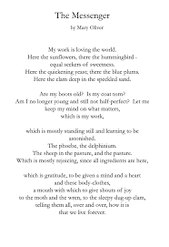 the messenger mary oliver soul food each day the messenger mary oliver