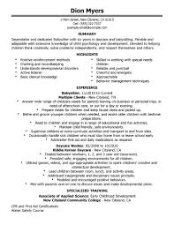 example of a nanny resume cv sample objective babysitter personal gallery of nanny resume
