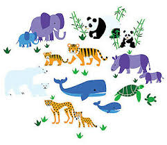 Wallies <b>ENDANGERED ANIMALS wall stickers</b> 34 decals nursery ...