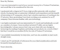 trainee it technician cover letter example   job seekers forumsrelated topics