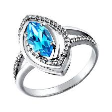 <b>Белое кольцо с голубым</b> топазом SOKOLOV – купить в ...