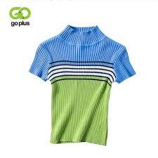 2019 <b>GOPLUS</b> 2018 Vintage Striped Pullover Knitted Shirt <b>Woman</b> ...