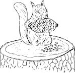 Раскраски белка грызет орешки