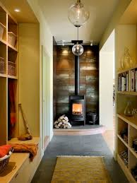 decor french country decorating wood burning fire contemporary mudroom idea in burlington with beige walls
