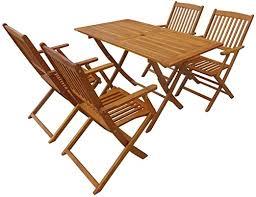 vidaXL Solid Acacia Wood <b>Outdoor Dining</b> Set <b>5 Piece</b> Garden ...