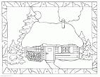 Картинка раскраска дом для детей