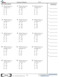 Multiplication WorksheetsFinding Multiples worksheet Finding Multiples worksheet