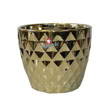 832 <b>Кашпо</b> керам. <b>MIRROR</b> GOLD d16 см зеркальное золото (ш/к ...