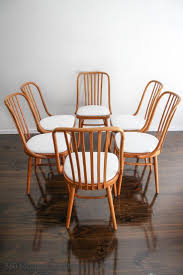 modern teak extension dining set of  ligna drevounia dining chairs bentwood mid century vintage ret