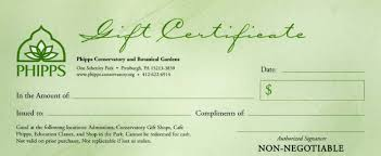 gift certificate phipps conservatory and botanical gardens gift certificate