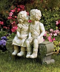 First Love Boy & Girl on <b>Bench Garden</b> Statue Elegant <b>Children</b> ...