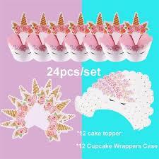 <b>24Pcs</b>/Set Unicorn Cup Cupcake <b>Wrappers</b> With Cake Topper ...
