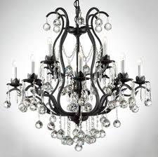 image of black wrought iron crystal chandelier black crystal chandelier lighting