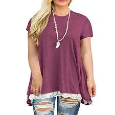 Weilim Womens <b>Plus Size XL-4XL</b> Lace Short Sleeve Tunic Tops ...