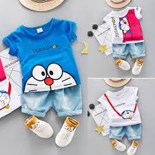 <b>Children's Short Sleeve</b> Doraemon Series Cartoon Print T-Shirt + ...