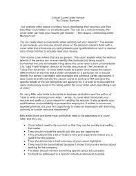 critical cover letter advice by chelse benham job seekers what needs to be on a cover letter