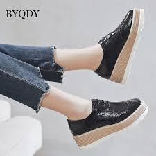 <b>BYQDY New 2020</b> Spring Platform High Heels Shoes British Carved ...