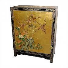 asian cabinet gold leaf black lacquer wood storage chest oriental furniture cheap oriental furniture