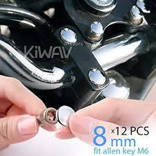 KiWAV <b>motorcycle</b> round bolt cap screw <b>cover</b> plug chrome for 8mm ...