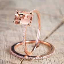 2Pcs <b>Ring</b>/<b>Set</b> Rose Gold Filled <b>White</b> Crystal Zircon Wedding ...