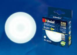 <b>Лампа</b> светодиодная <b>GX53</b> 6W 4000K Белый свет <b>Uniel LED</b> ...