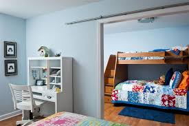 bunk bed with stairs kids contemporary with barn door bedroom bunk beds ceiling lighting desk desk bunk beds kids dresser