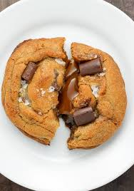 <b>Salted Caramel Stuffed Chocolate</b> Chunk Cookies - Baker by Nature