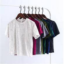 Женская бархатная <b>футболка</b> с коротким рукавом, однотонная ...