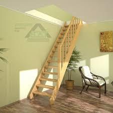 <b>Лестница на</b> второй этаж (<b>прямая</b>), деревянная (из дерева) с ...