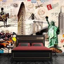 liberty bedroom wall mural: free shipping d retro nostalgia large mural coffee brick wall wallpaper personality bar ktv statue liberty