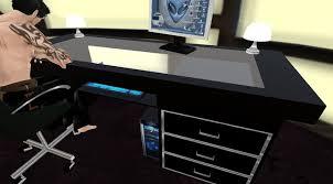 sleek black glass top computer desk 9699b6ec7d463ae9548bca1e4f6d77b4 black computer desks