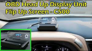 C500 OBDII <b>HUD Head</b> Up Display w Flip Up Screen - Speed, RPM ...