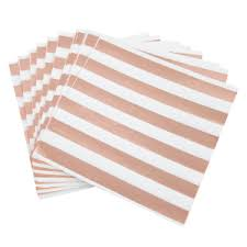 Six <b>Rose Gold Stripe</b> Paper Napkins