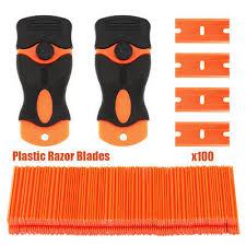 <b>100PCS Plastic Razor</b> Blade With 2 Scraper Edge Stickers Paint ...