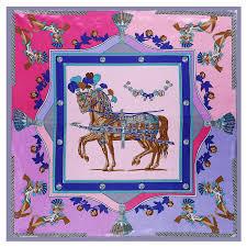 POBING Luxury Horse Print Hijab Women Satin <b>Silk Scarf</b> Shawl ...