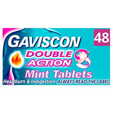 Gaviscon <b>Double Action</b> Tablets Heartburn and Indigestion, Pack of 48