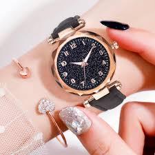 Women <b>Luxury</b> Leather Belt <b>Creative Glass</b> Starry Sky Dial Quartz ...