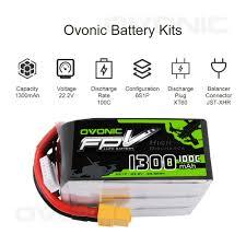 <b>OVONIC</b> Lipo Battery <b>6S</b> 1300mAh <b>100C</b> Racing Drone <b>22.2V</b> XT60 ...