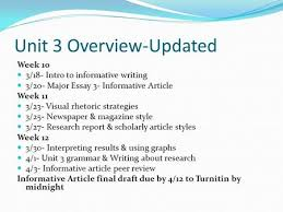 todays goals learn and utilize strategies for analyzing visual  unit  overview updated week    intro to informative writing