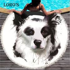 Cute HD Animal Dog Pattern <b>Printing Beach</b> Towel <b>Round</b> Tassels ...