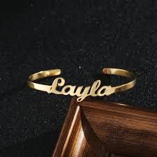 <b>Custom Name</b> Cuff Bangle <b>Bracelet</b> Women Wristband Gold Color ...