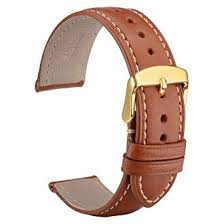 WOCCI Untextured <b>Leather Watch Strap with</b> Gold Buckle, 18mm ...