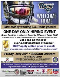 job jobs did i say jobs the la beat la rams hiring event poster