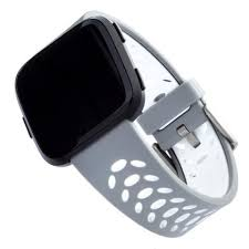 <b>Sport Silicone Band for</b> Fitbit Versa Series by WITHit in Gray/White Sp