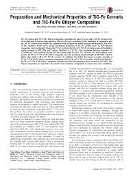 (PDF) Preparation and Mechanical Properties of TiC-Fe Cermets ...