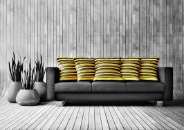living room chic interior design living room black microfiber reclining sofa gray wooden floor and wall plants on pot yellow cushions with striped brown chic yellow living room